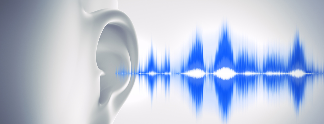 digital graphic of ear with wavelengths coming from ear